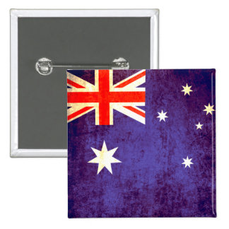 Aussie flag button badge in red white and blue