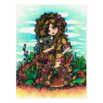 Aussie Girl Koala Kangaroo Comic Art Postcard