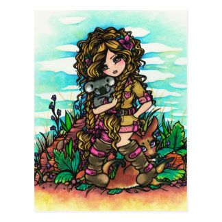 Aussie Girl Koala Kangaroo Comic Art Postcard