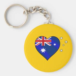 Aussie heart of Australia Aussie Oi Love Basic Round Button Keychain