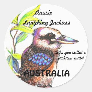 AUSSIE LAUGHING JACKASS CLASSIC ROUND STICKER