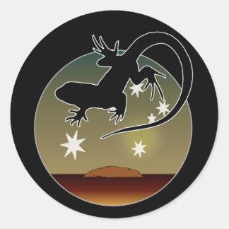 Aussie Lizard Icon Round Stickers