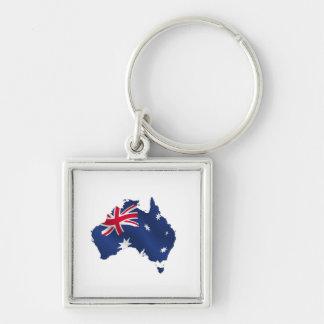 Aussie map flag key chain