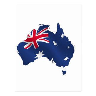 Aussie map flag post cards
