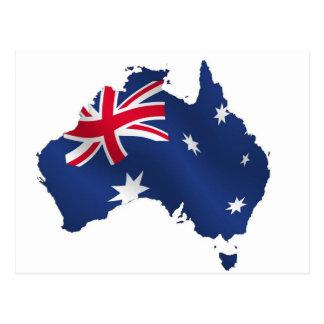 Aussie map flag postcards