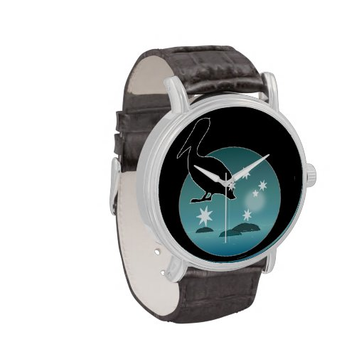 Aussie Pelican Icon Vintage Leather Strap Watch