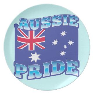 AUSSIE PRIDE with an Australian Flag Melamine Plate