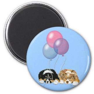 Aussie Puppies Party Time 2 Inch Round Magnet