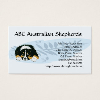 Aussie Puppy on Blue Feather Custom Business card