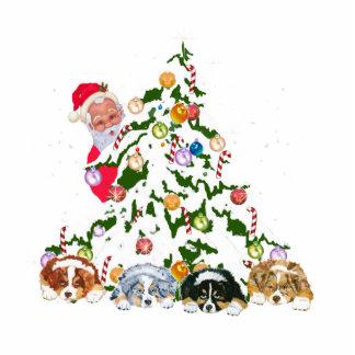 Aussie Pups under the tree w/Santa Statuette