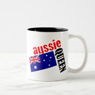 Aussie Queen & Flag Two-Tone Coffee Mug