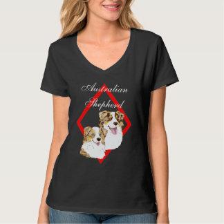 Aussie Red Merle Pair on Diamond Design T-Shirt