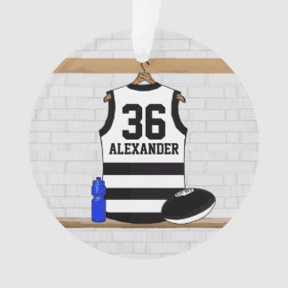 Aussie Rules Football Jersey Black White Stripes Ornament