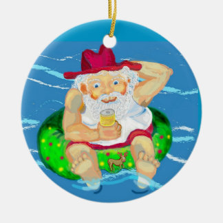 Aussie Santa Double-Sided Ceramic Round Christmas Ornament