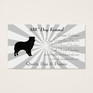 Aussie Silhouette Grey and White Pinwheel Business Card