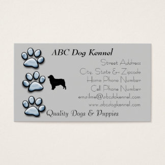 Aussie Silhouette on Blue Pawprints Business Card