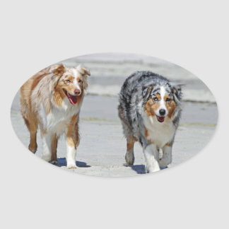 Aussies - 1st Day of Summer Beach Stroll Oval Sticker