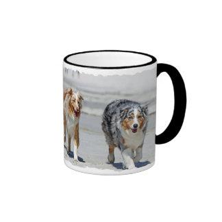 Aussies - 1st Day of Summer Beach Stroll Ringer Coffee Mug
