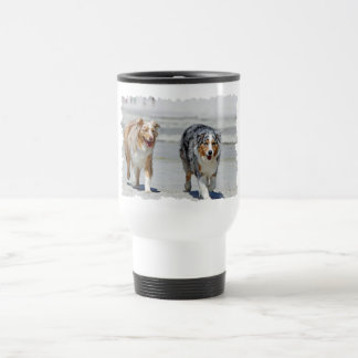 Aussies - 1st Day of Summer Beach Stroll Travel Mug