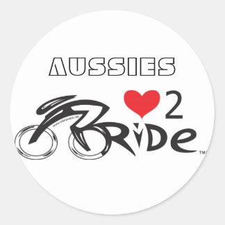 Aussies Love 2 Ride Classic Round Sticker