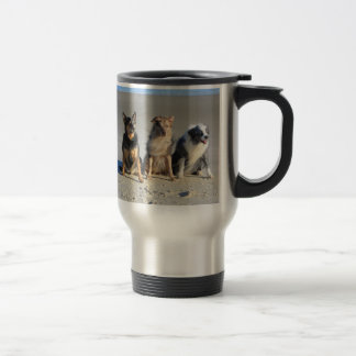 Aussies on beach travel mug