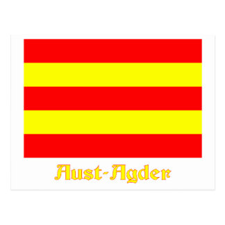 Aust-Agder flag with name Postcard
