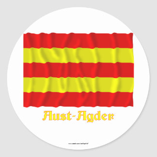 Aust-Agder waving flag with name Classic Round Sticker