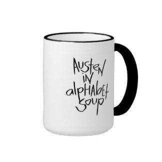 Austen en sopa del alfabeto tazas de café