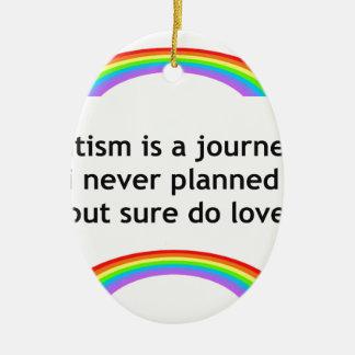 austim rainbow.jpg Double-Sided oval ceramic christmas ornament