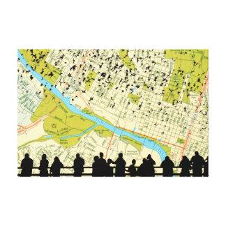 Austin Bats Congress Bridge flying Gallery Wrapped Canvas