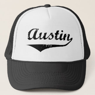 Austin black text trucker hat