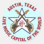 Austin, capital de la música en directo de Tejas Pegatinas Redondas