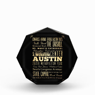 Austin City of Texas State Typography Art Award