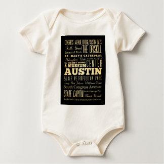Austin City of Texas State Typography Art Baby Bodysuit
