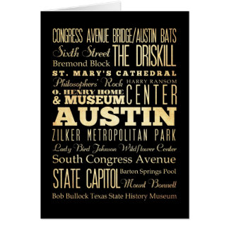 Austin City of Texas State Typography Art Card