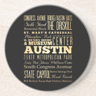 Austin City of Texas State Typography Art Drink Coaster
