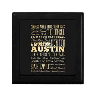 Austin City of Texas State Typography Art Gift Box