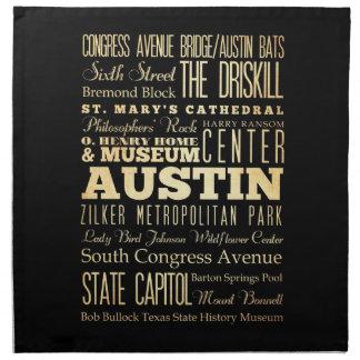 Austin City of Texas State Typography Art Printed Napkin