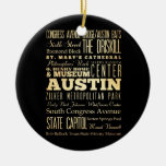 Austin City of Texas State Typography Art Double-Sided Ceramic Round Christmas Ornament