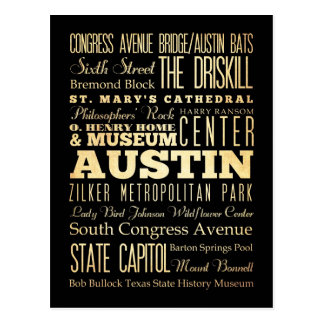 Austin City of Texas State Typography Art Postcard