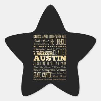 Austin City of Texas State Typography Art Star Sticker