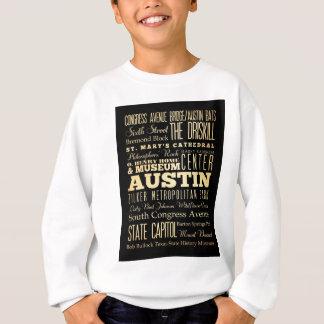 Austin City of Texas State Typography Art Sweatshirt