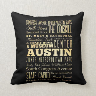 Austin City of Texas State Typography Art Throw Pillow