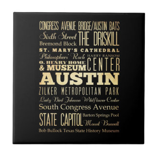 Austin City of Texas State Typography Art Tile