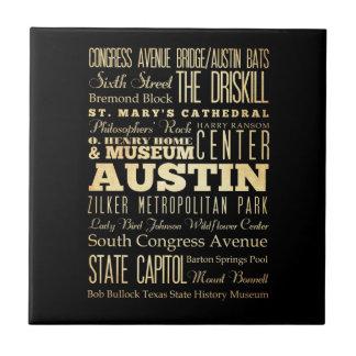 Austin City of Texas State Typography Art Tiles