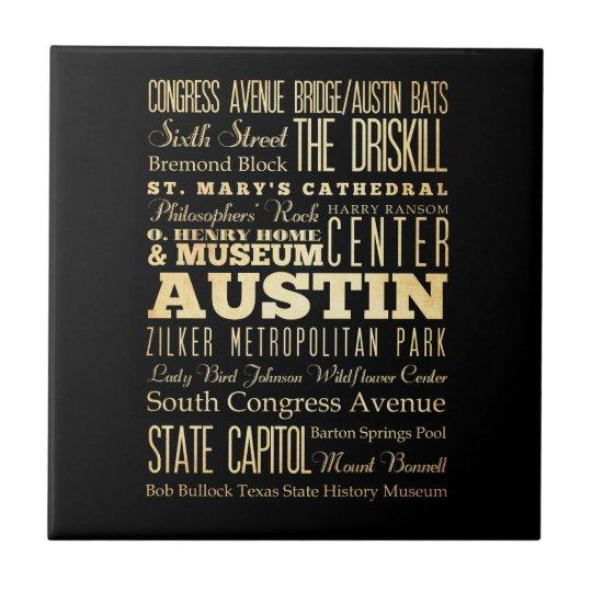Austin City of Texas State Typography Art Tile