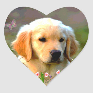 Austin Golden Labrador Puppy Heart Sticker