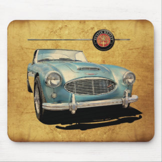 Austin Healey 3000 blue on white Mouse Pad