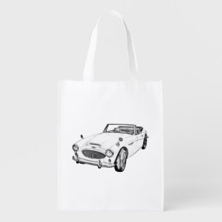 Austin Healey 300 Classic Sports Car Illustration Reusable Grocery Bag