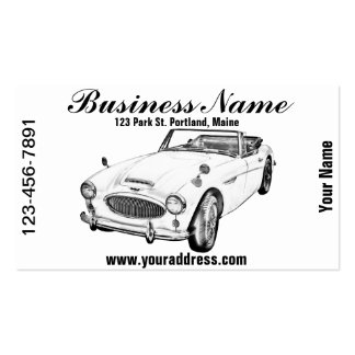 Austin Healey 300 Sports Car Illustration Business Card
